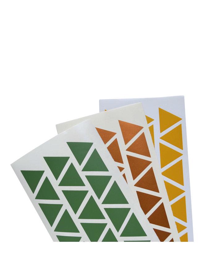 Muursticker triangle koper, mosterd en groen