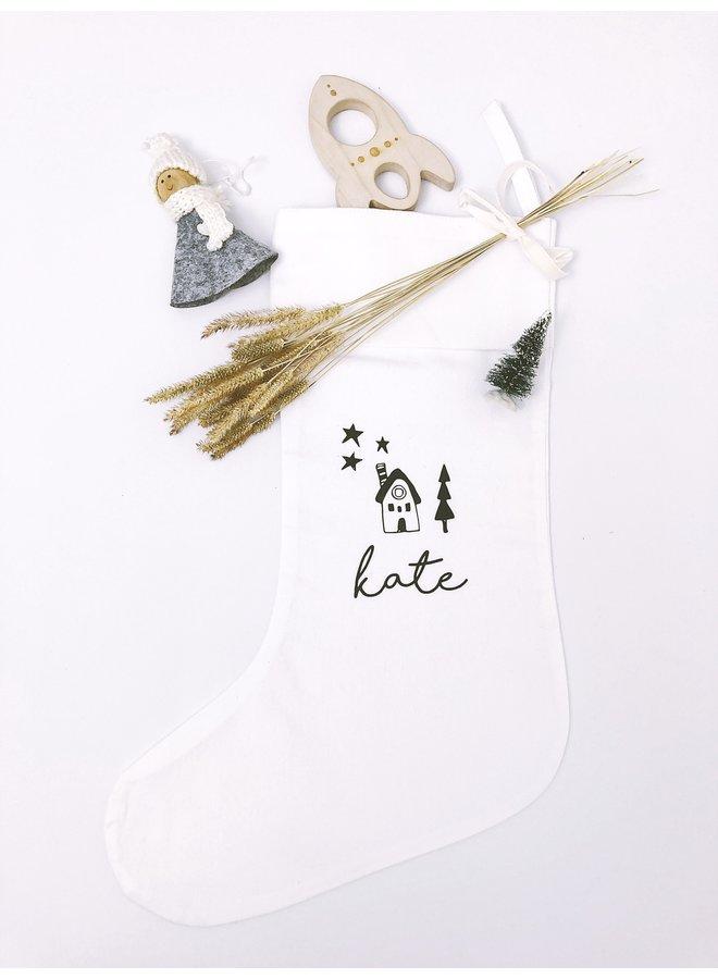 Kerstsok wit met naam
