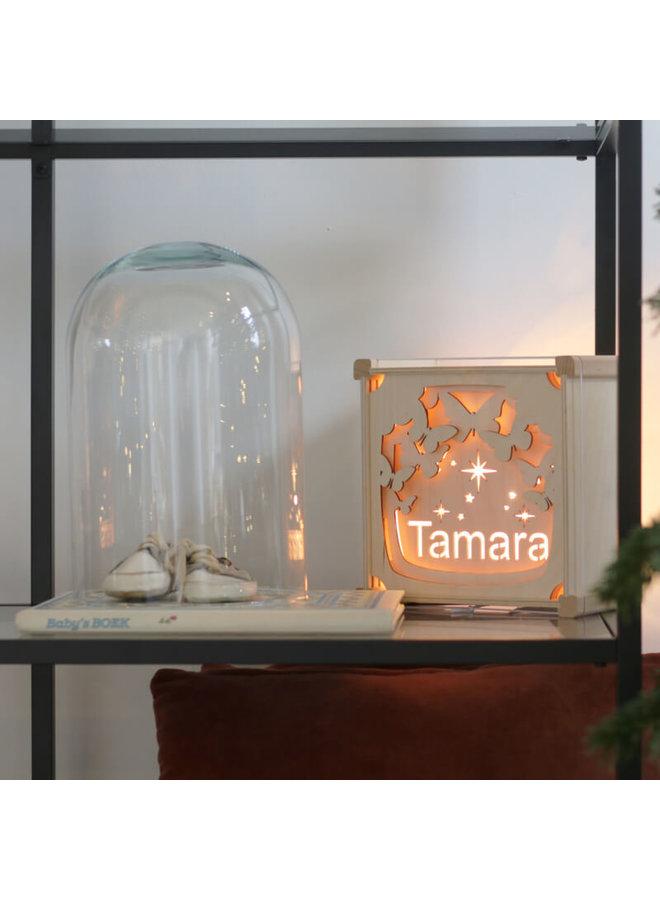 Houten nachtlampje met naam: Vlinders