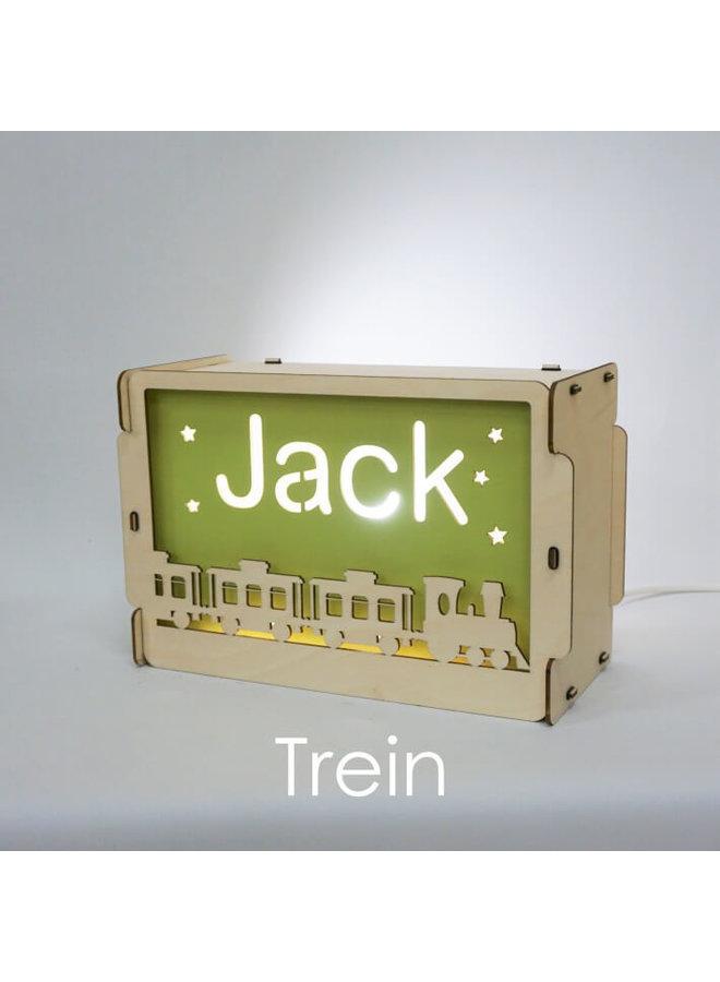 Houten nachtlampje met naam: Trein