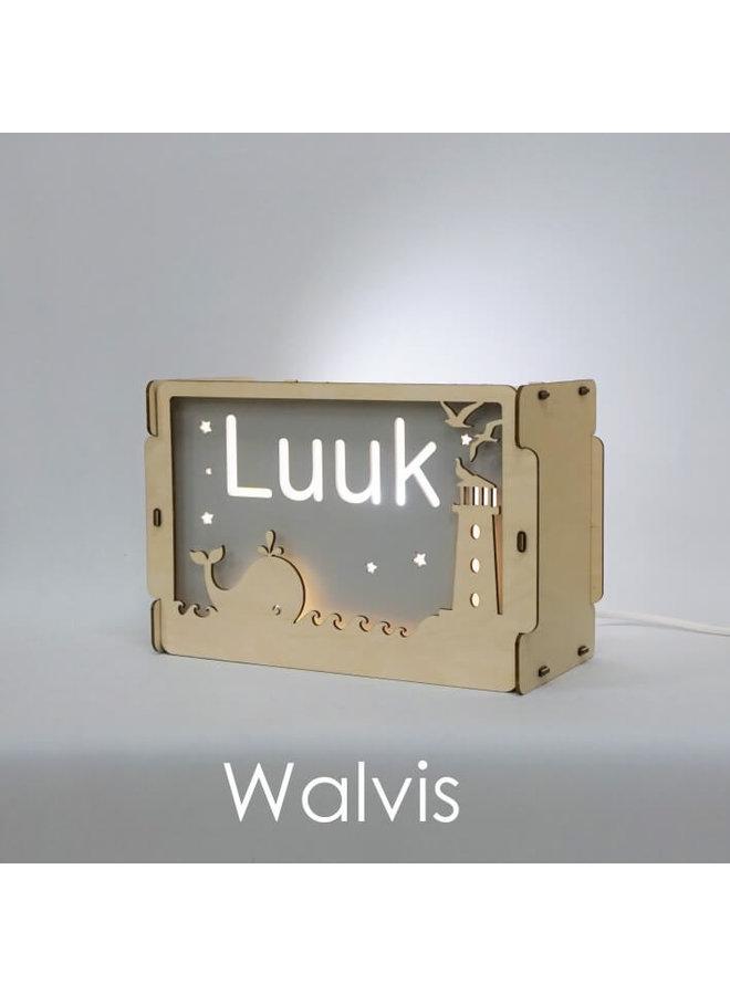 Houten nachtlampje met naam: Walvis