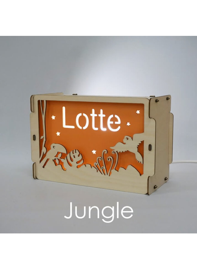 Houten nachtlampje met naam: Jungle