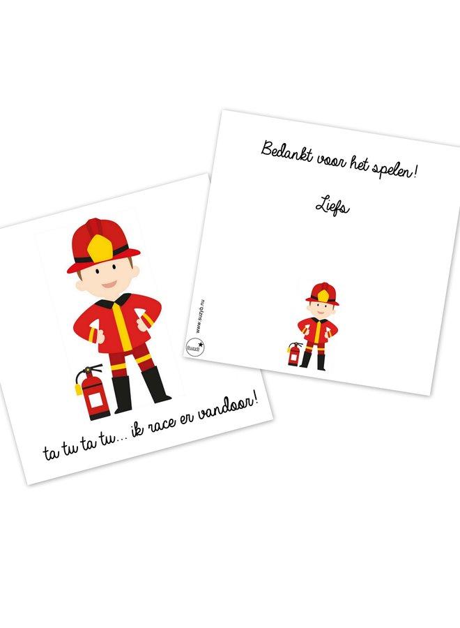 Traktatie kaartjes brandweer afscheid 10 x