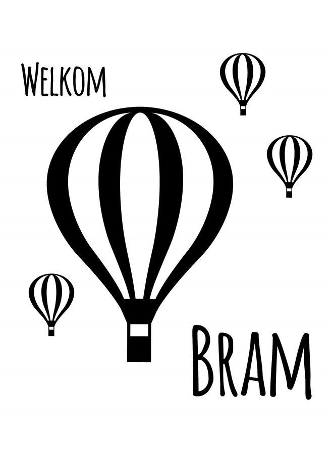 Geboortesticker Luchtballon met naam