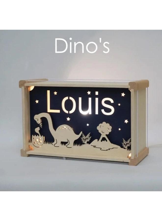 Houten nachtlampje deluxe met naam: Dino's