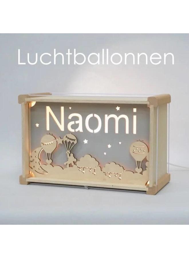Houten nachtlampje deluxe met naam: Luchtballonnen