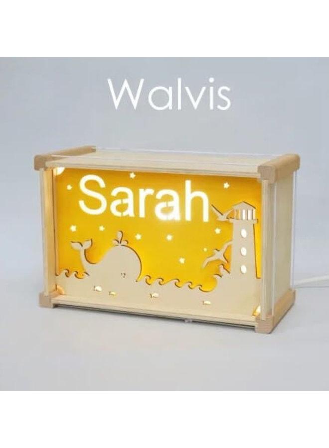 Houten nachtlampje deluxe met naam: Walvis
