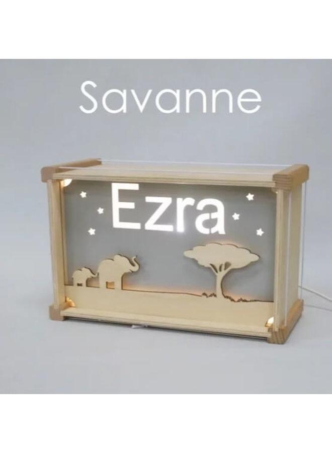 Houten nachtlampje deluxe met naam: Savanne
