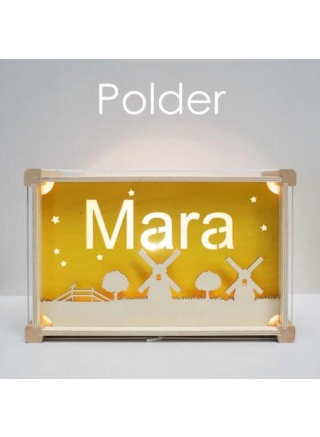 Houten nachtlampje deluxe met naam: Polder