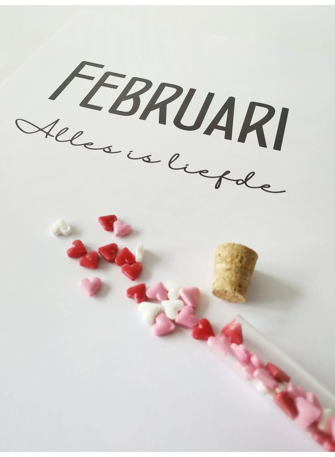 Printable kalender en poster februari