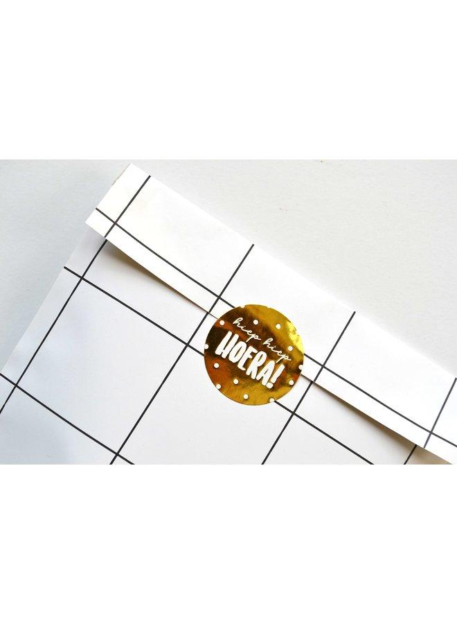 Sluitsticker - hiep hiep Hoera! goud/wit 10x