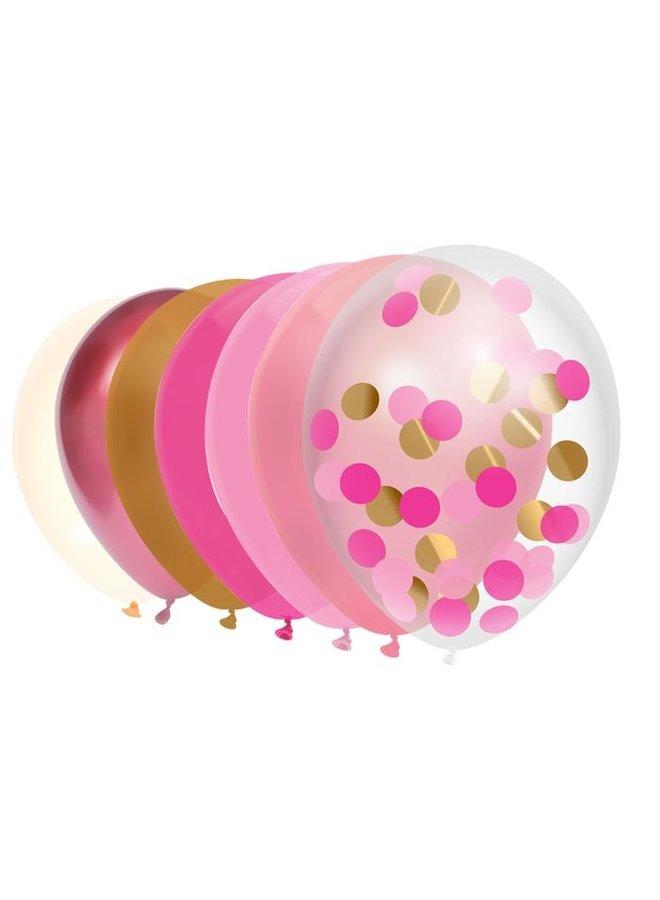 Ballonnen mix roze goud 10x
