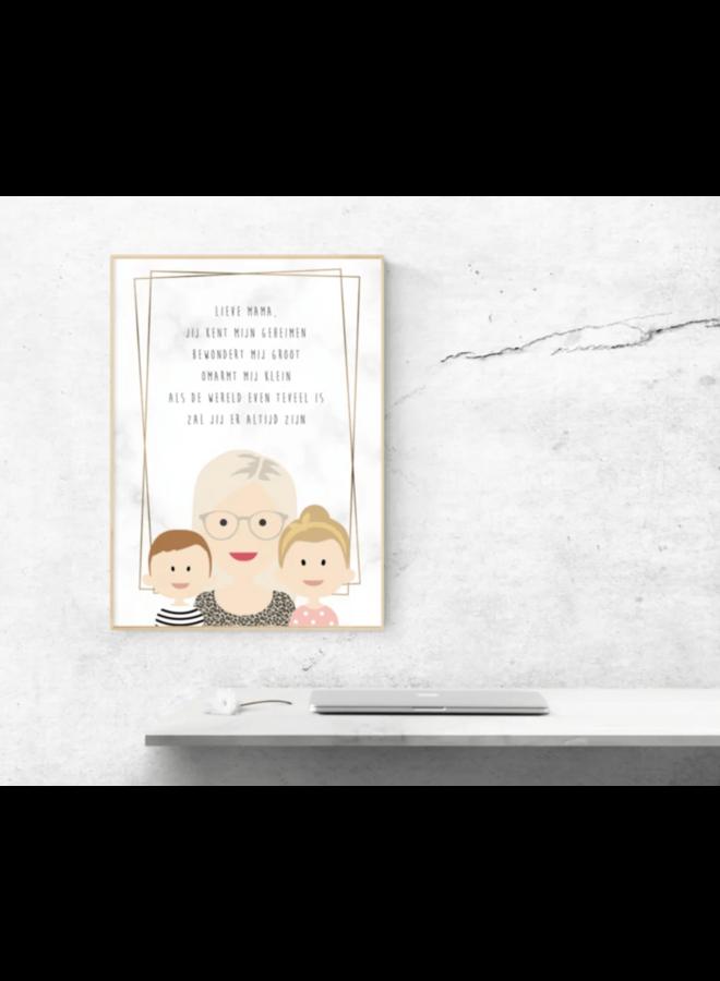 Poster Moeder of oma met gedichtje
