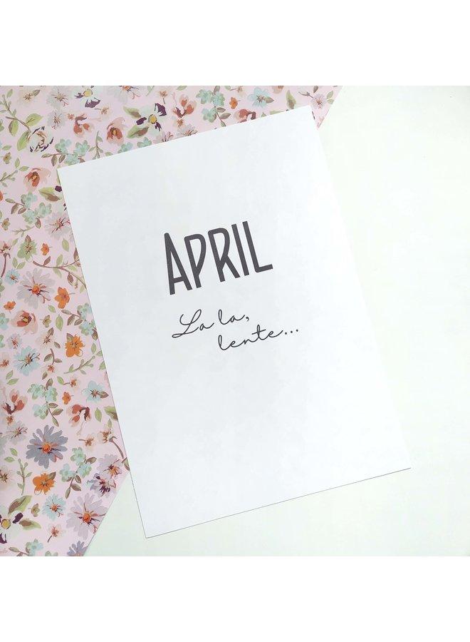 Printable kalender en poster april