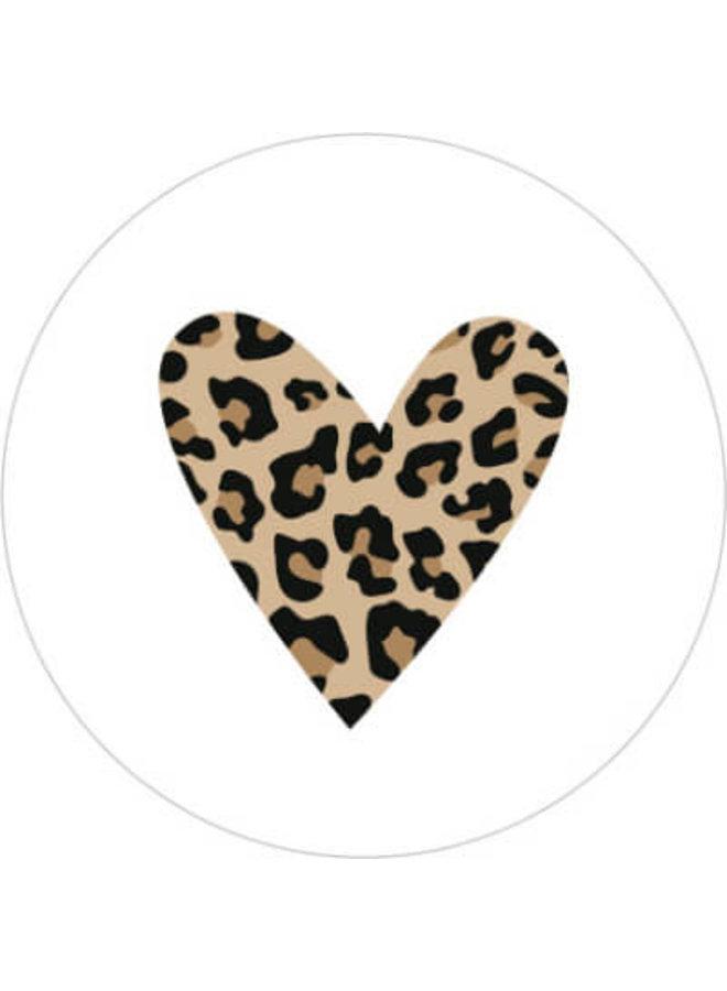 Sluitsticker  hartje luipaard wit 10x