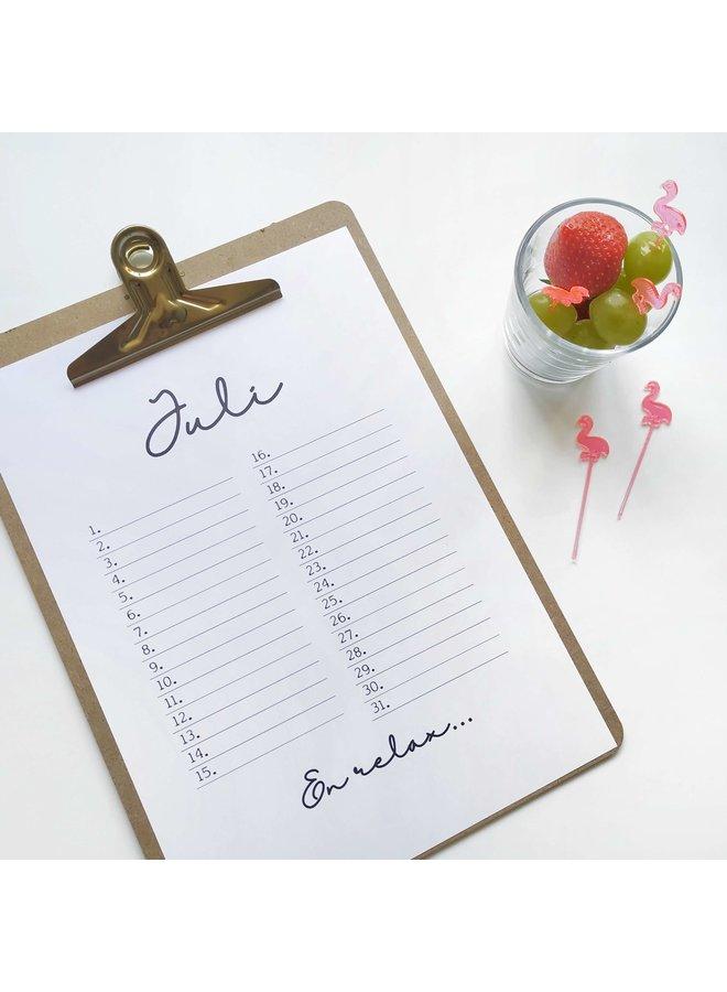 Printable kalender en poster mei juli