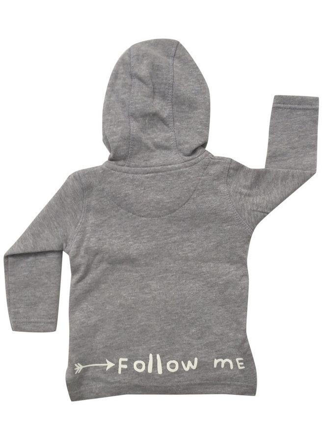 Grijs vest Follow me