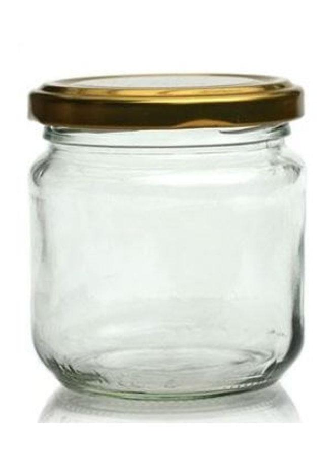 Glazen pot met gouden deksel