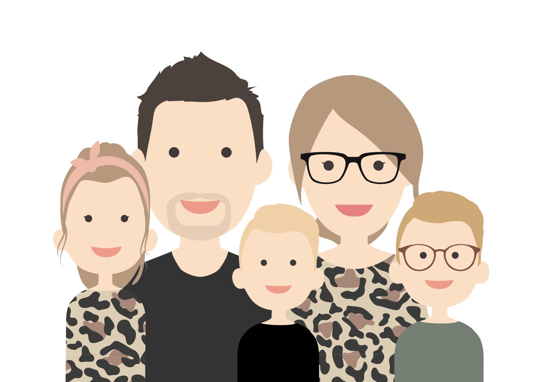 familie portret laten tekenen