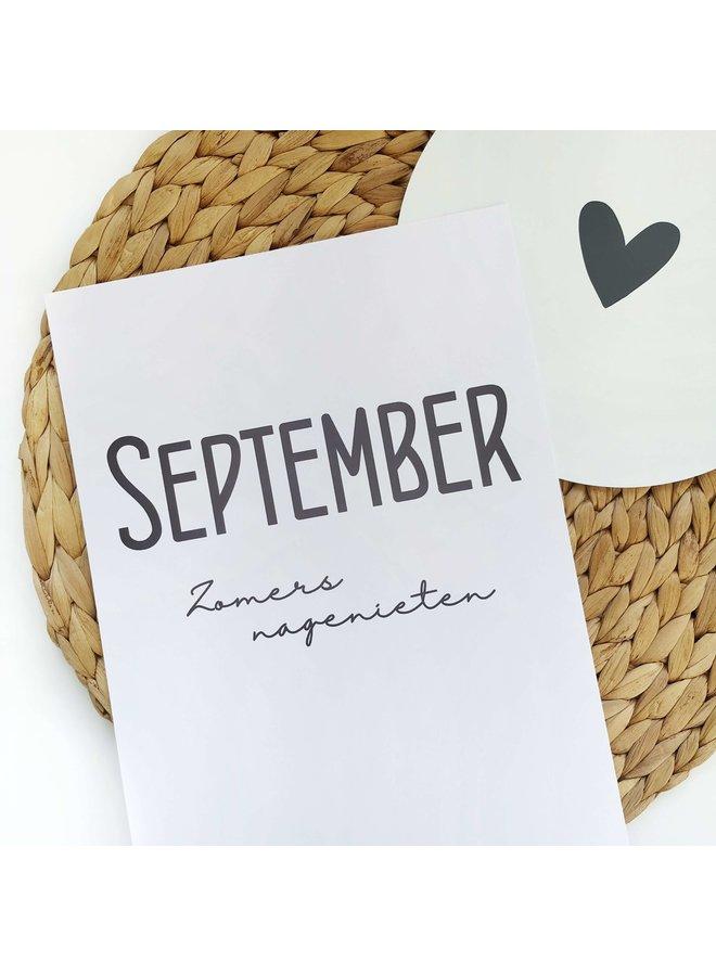 Printable kalender en poster september