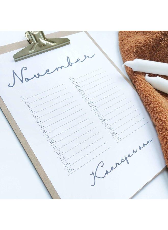 Printable kalender en poster november