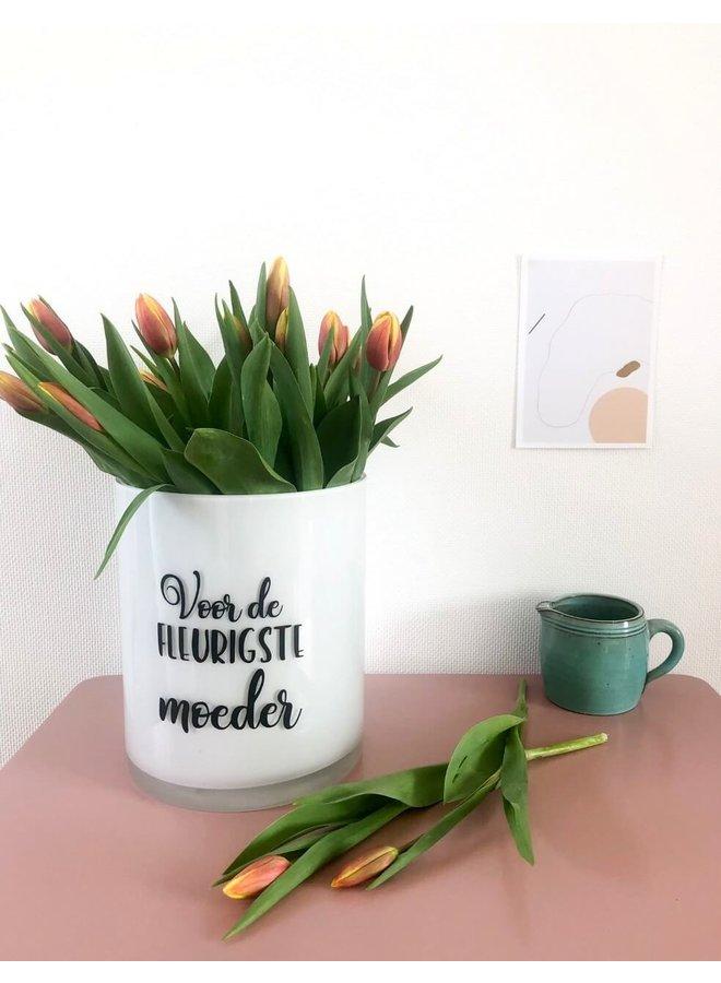 Sticker 'Voor de fleurigste moeder