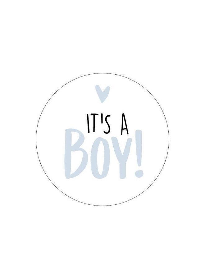 Sluitsticker it's a boy 10 x (lichtblauw)