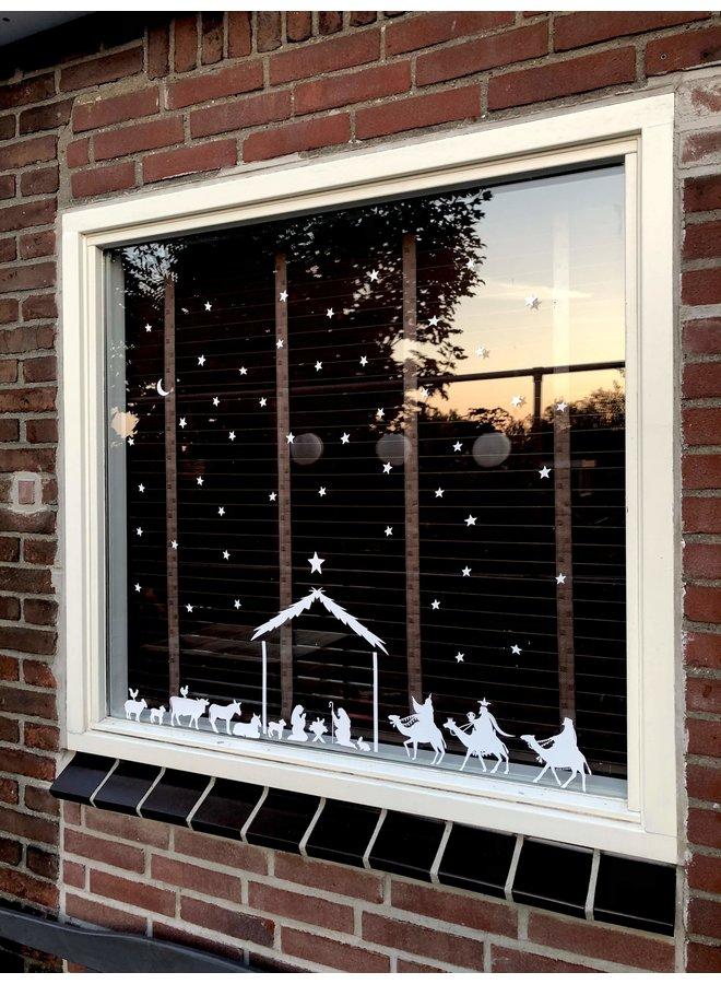 Raamsticker Kerst stal (herbruikbaar)