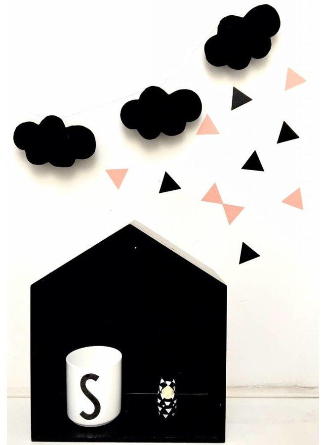 Muursticker triangle peach/ zwart