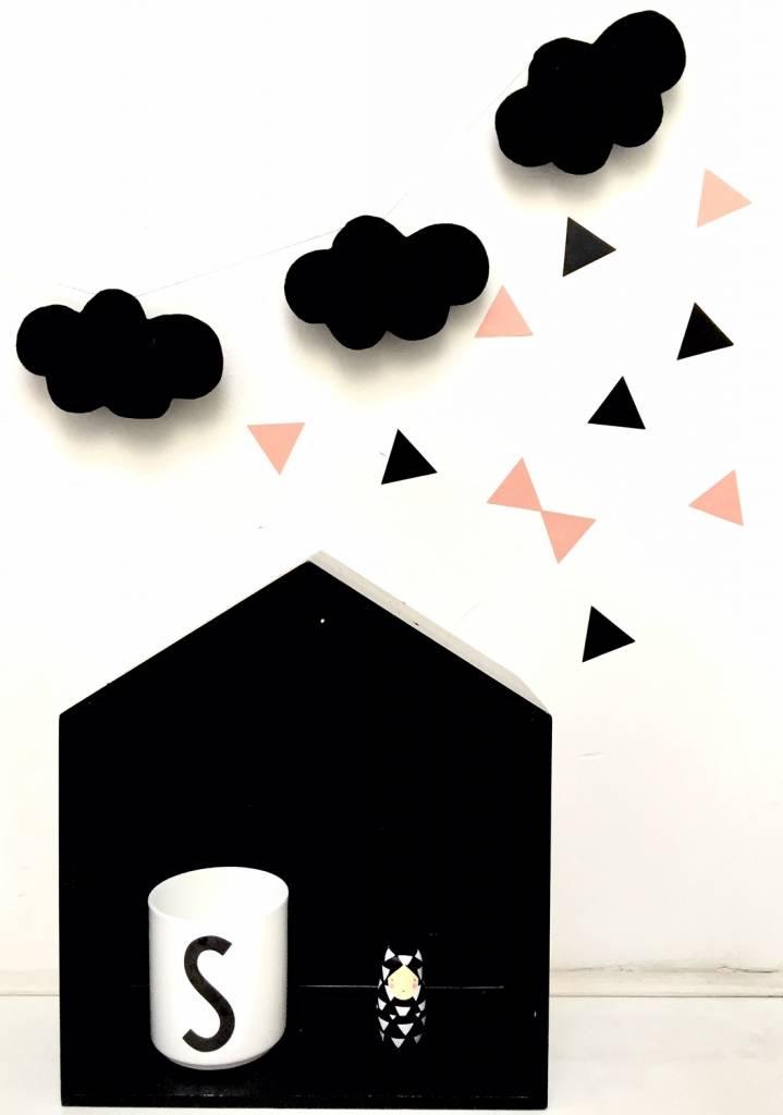 SuzyB Muursticker triangle peach/ zwart