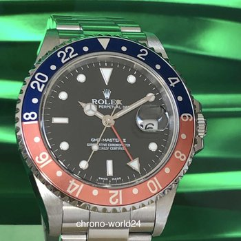 Rolex GMT - Master II 16710 Pepsi unpolished  2005 Box/papers & new service