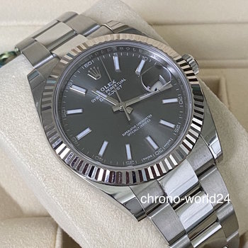 Rolex Datejust 41 126334 LC100 2017 rhodium like new box/papers
