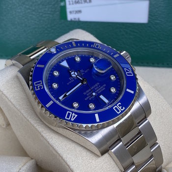 Rolex Submariner Date 116619LB blue, blau, diamond, 2015/08, Eu, unpolished, B&P TOP