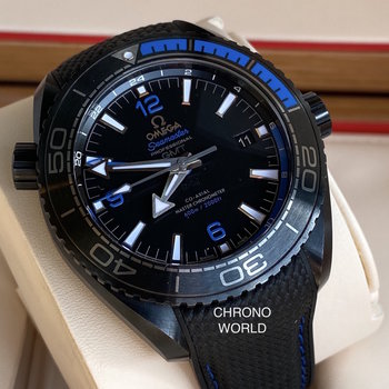 Omega Seamaster Planet Ocean GMT Deep Black Blue Gmt, like new, Top, 2020