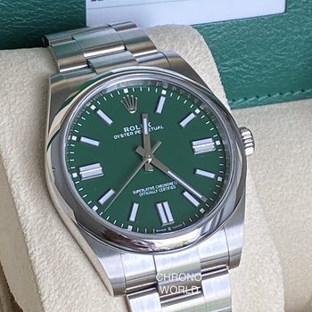 Rolex Oyster Perpetual 124300 green, grün, Eu, unworn, 41, B&P, 2020