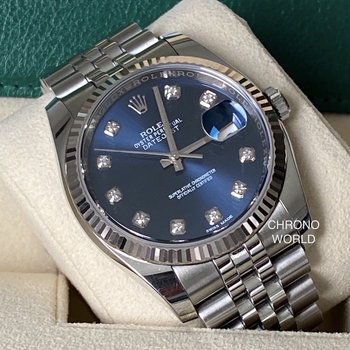 Rolex Datejust 116234 LC100 blue, blau diamond, unpolished, 2018 TOP