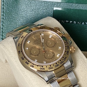 Rolex Daytona 116503 diamond, unworn, Eu, all stickers, champagne, Box&Papers