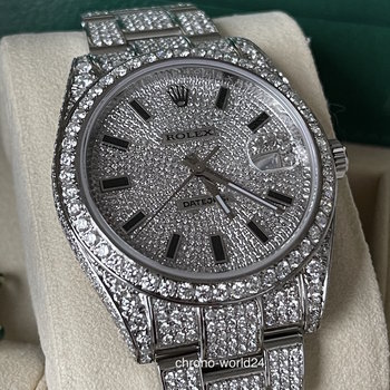 Rolex Datejust 41 Ref.126300 Iced Out, Full Diamonds, unworn, 2020, Box & Papers