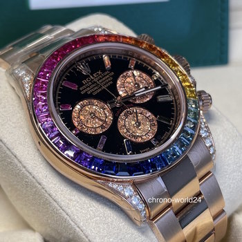 Rolex Daytona 116505 LC100, 2019, Rainbow, all stickers, unworn, Diamonds Aftermarket