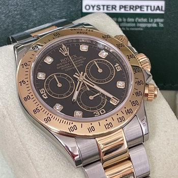 Rolex Daytona Ref.116523 LC100, 2011, black, diamond, dial, B&P TOP
