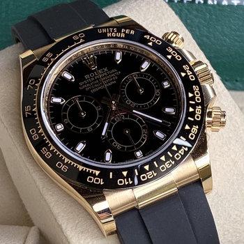 Rolex Daytona 116518LN black, schwarz, 2021/04, Eu, unworn, Box & Papers, ungetragen