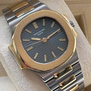 Patek Philippe Nautilus 3800/1 blue, blau, Extract from the Archives, Service 2021 TOP