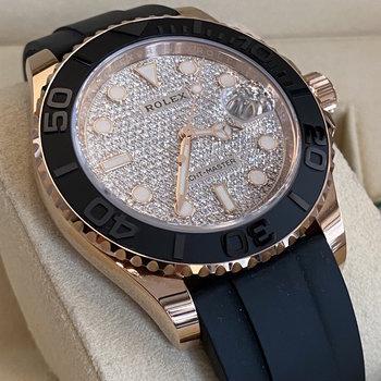 Rolex Yacht-Master 126655 Pave Diamond, 2021, Eu, Box&Papers, rose gold, ungetragen