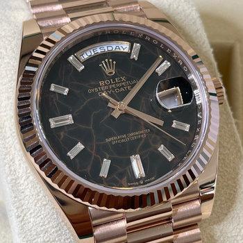 Rolex Day-Date 228235 2021, Eu, Eisenkiesel Stone, Baguette Dial, unworn, ungetragen