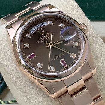 Rolex Day-Date 118205, 2015/09, ruby dial, Eu, 36mm, Box6Papers, TOP