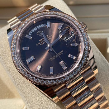 Rolex Day-Date 228345RBR 2021, Eu, Diamond bezel, Chocolate Baguette Dial, unworn, ungetragen