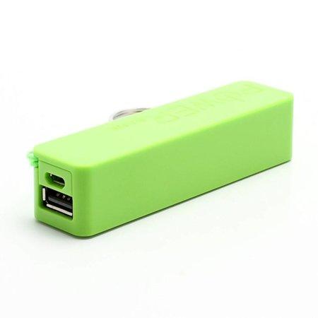 Compacte powerbank 2600 mAh met sleutelhanger - Groen
