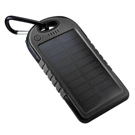 Solar Powerbank 5500 mAh met Carabijnhaak (Spatwaterdicht)