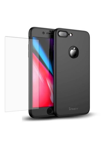 iPaky Apple iPhone 7 Plus / 8 Plus Full Cover Case met Tempered Glass (Zwart)