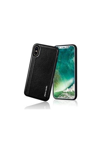 Pierre Cardin Siliconen Backcase met Leer Zwart iPhone X